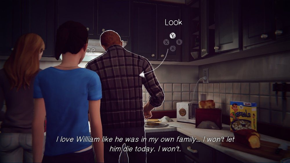 "A screencap of young Max looking at William and Chloe, with the text: ""I love William like he was in my own family... I won't let him die today. I won't."""