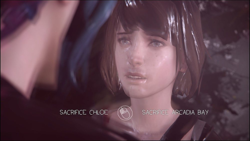 "A screencap of Max and Chloe during the final choice of the game, with the text: ""Sacrifice Chloe [or] Sacrifice Arcadia Bay."""
