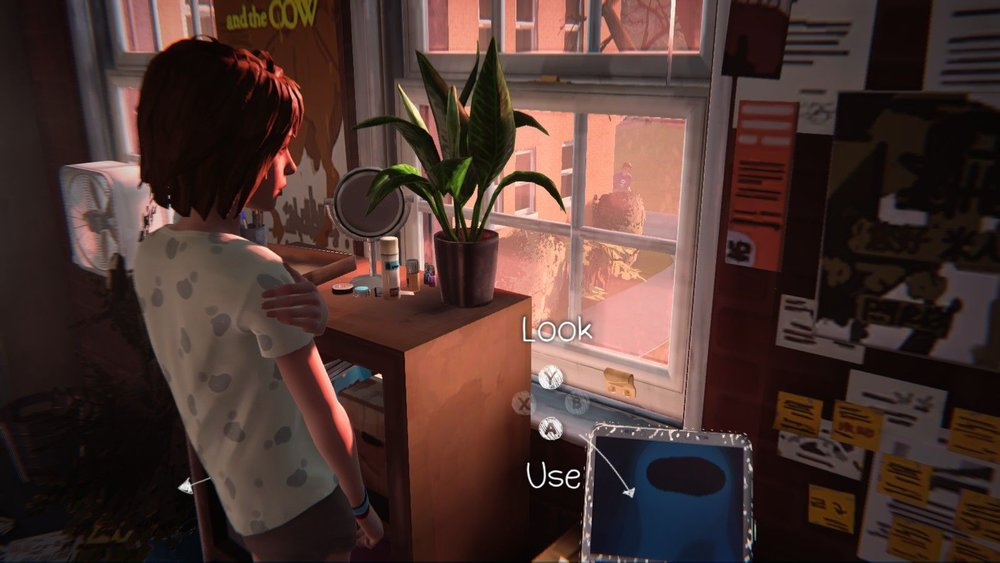 A screencap of Max looking out her window in the morning, showing Warren creepily peering around a corner and looking up into her room.