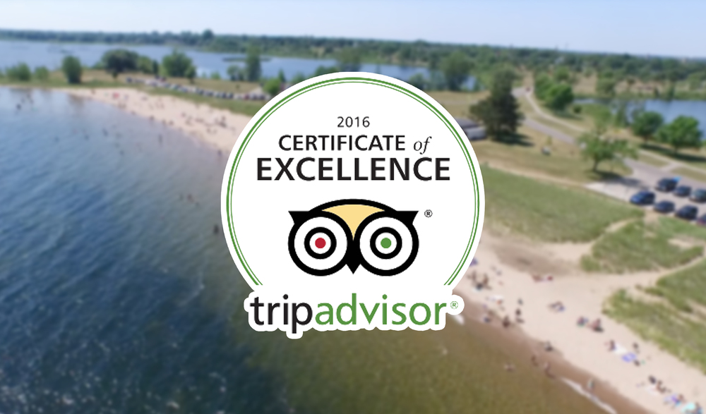 MISH Watersports Trip Advisor Certificate of Excellence for Kayak and Stand Up Paddleboard Rentals at the Escanaba Beach in Michigan's Upper Peninsula