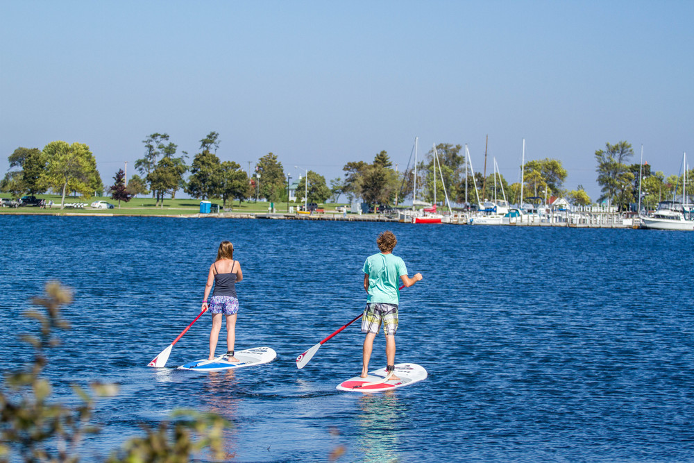Stand Up Paddleboard Rentals on Lake Michigan at the Escanaba Beach in the Upper Peninsula