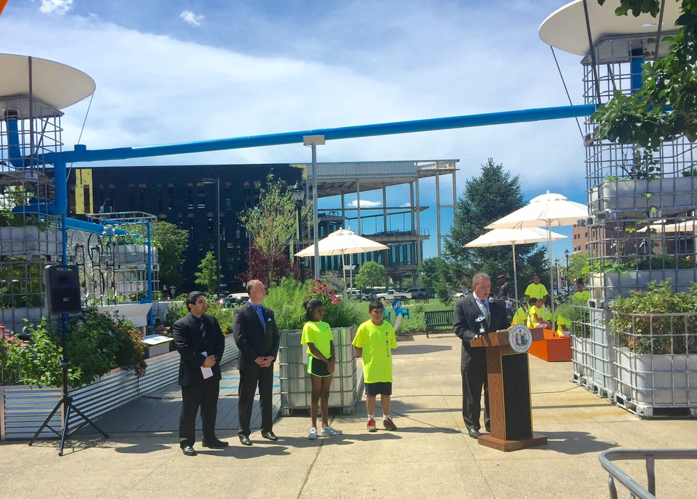 Anthony Perno, CEO of Cooper's Ferry Partnership, speaks at yesterday's press conference unveiling Roosevelt Plaza Park's third iteration - The Healthy Pop-up.
