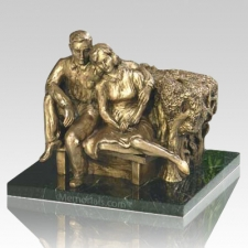 """Seated Couple"" bronze companion urn for the depressed mom who married a stand-up guy, $1418 at Memorials.com"