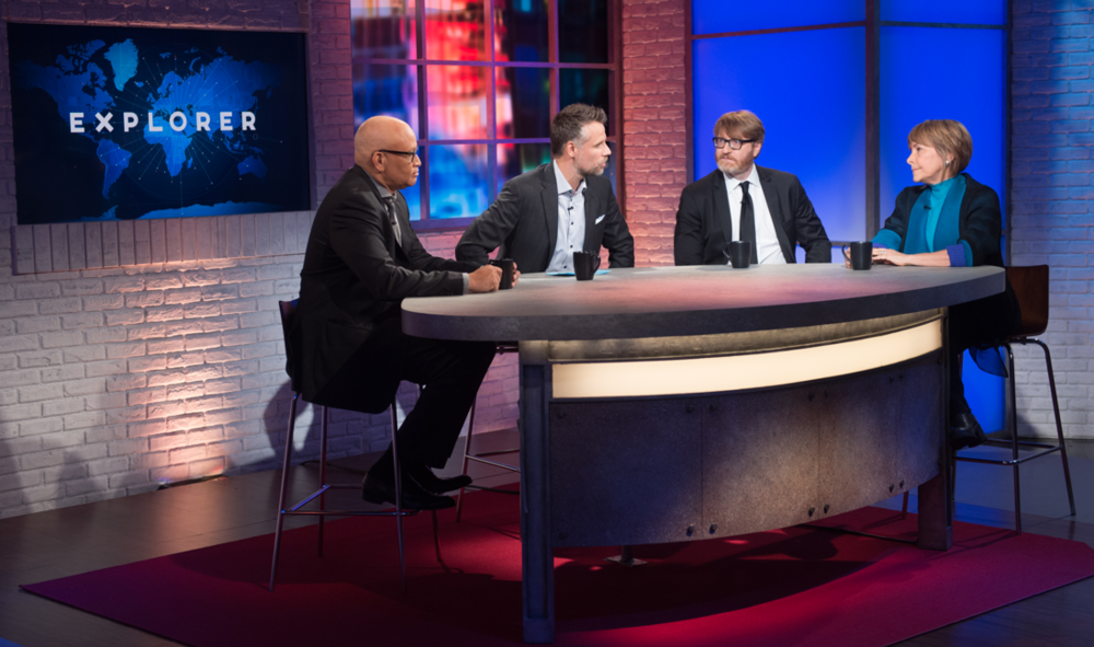 "Amy discussing end-of-life anxieties and wishes on National Geographic's ""Explorer"" show with Larry Wilmore, Richard Bacon, and Chuck Klosterman, November 2016."
