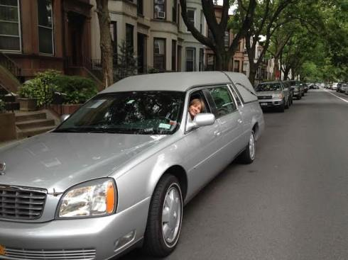 Amy drives a 2016 dark green Honda Pilot upstate for most green burials and it's a somewhat better fit. But our firm has all manner of lovely transport vehicles.