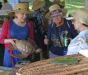 Amy shows an earth-friendly turtle urn to folks at the Clearwater Festival in 2014.