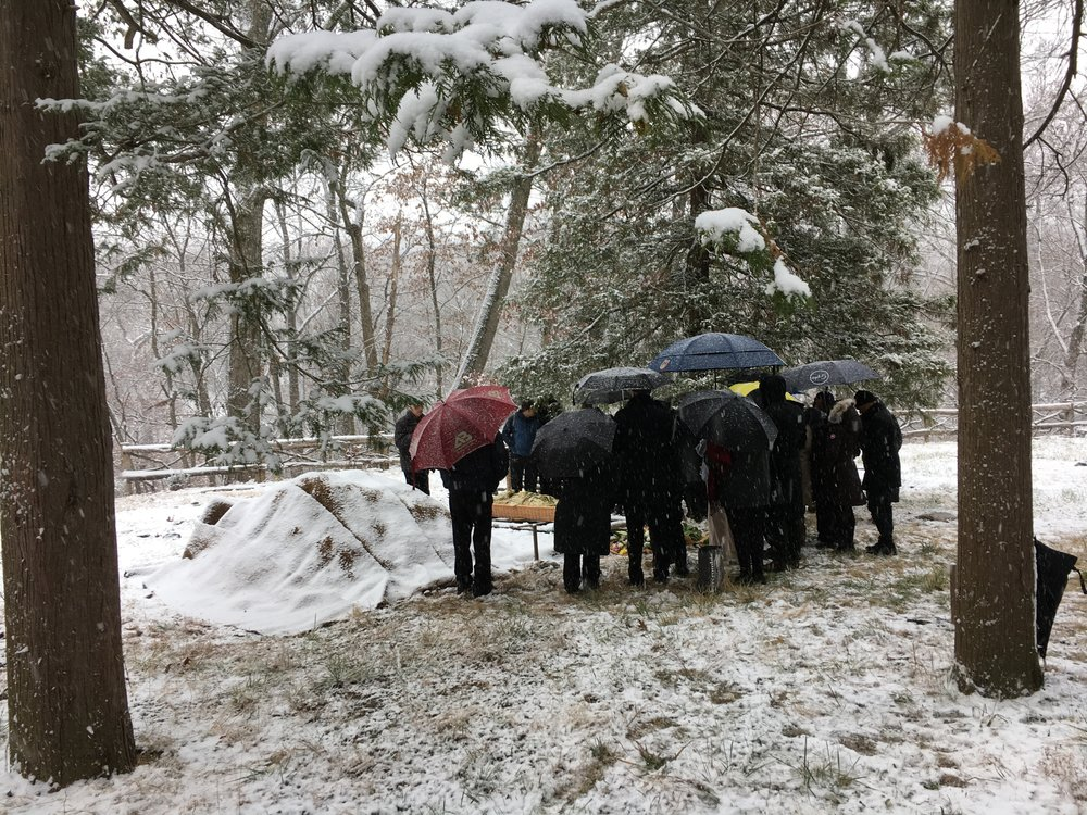 Shrouded burial, Winter 2018, Sleepy Hollow Cemetery near Tarrytown, New York.