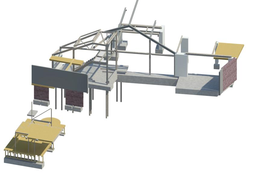 Structural steel, timber and masonry refurbishment model in Revit 3D