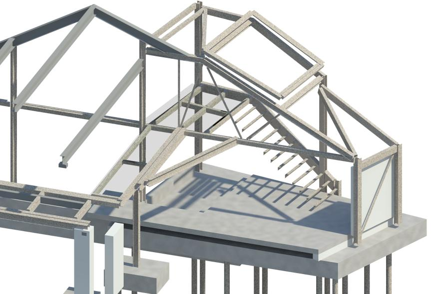 Main structural steel truss and new RC concrete floor model in Revit 3D