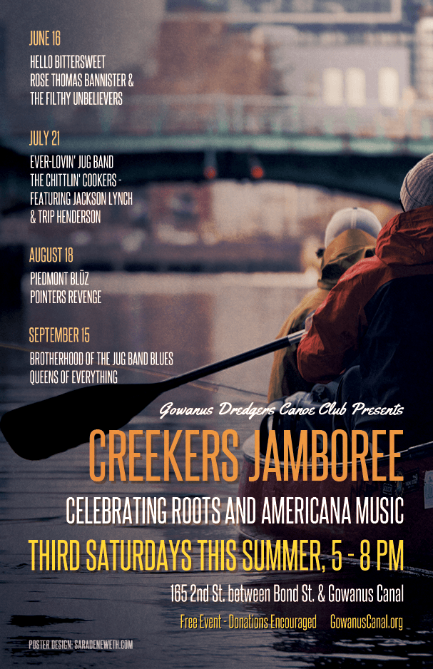 Poster for Creekers Jamboree, an Americana music festival to benefit the  Gowanus Dredgers Canoe Club.  May 2018.