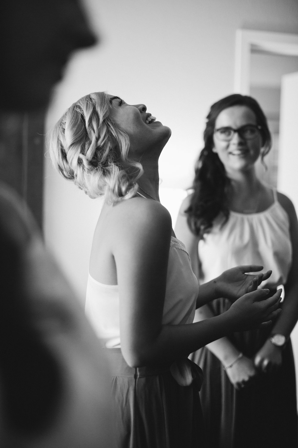 """This moment was probably my favorite. Petra, one of Naomi's dearest friends and bridesmaids, was saying, """"I'm not crying! The tears are just going to roll back into my eyeballs!"""" haha."""
