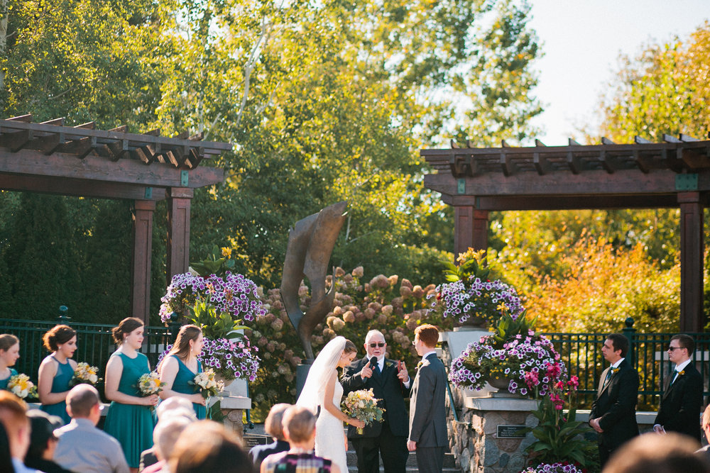 outdoor fall wedding at Millennium Gardens MN