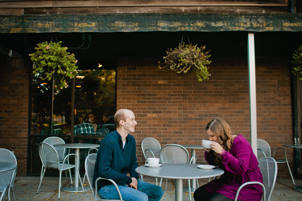 engagement photos at outdoor cafe drinking coffee photographers and lattes