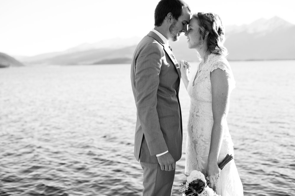 lake and mountain wedding photos