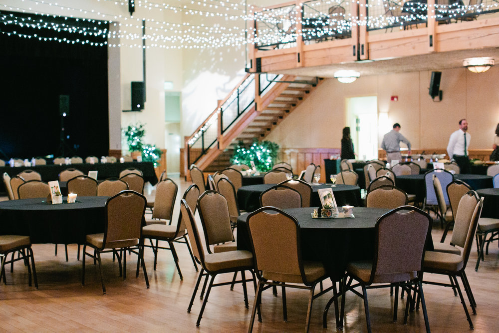 inside wedding reception Silverthorne Pavillion Colorado