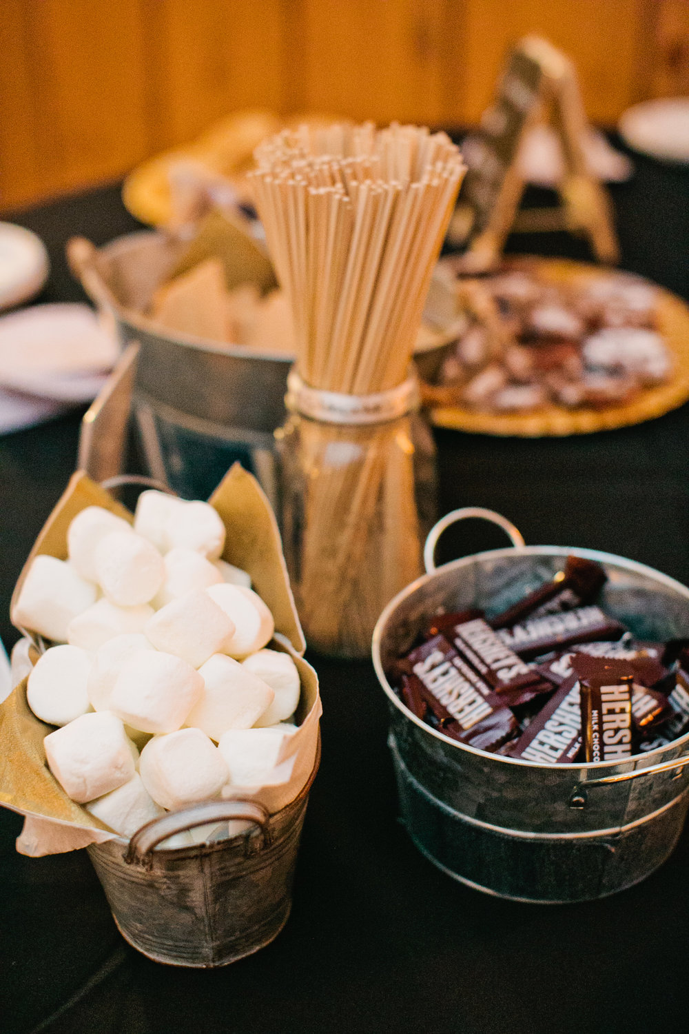 s'mores at wedding reception