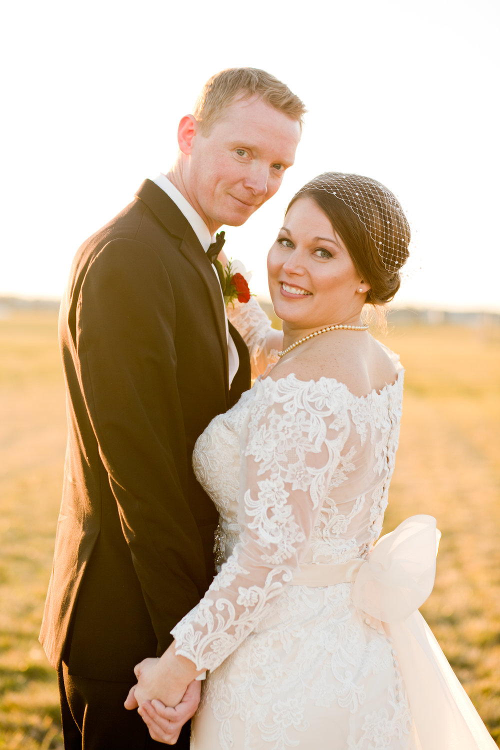 golden hour sunset wedding portraits in December wedding