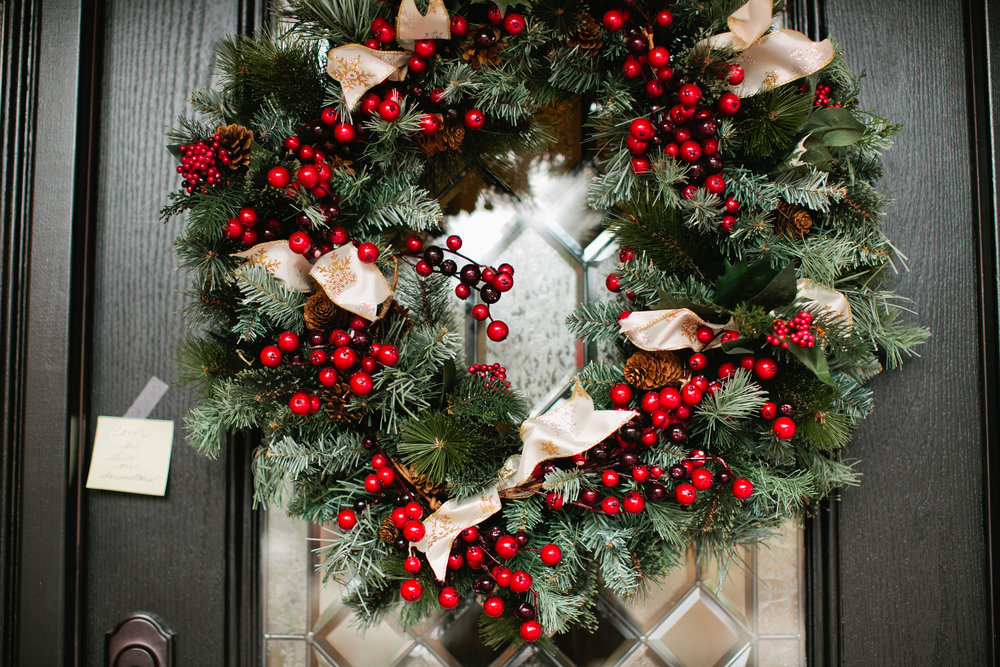 there was a beautiful Christmas wreath on the door outside that perfectly fit with Jan and Grant's winter wedding! see more photos from this colorado springs wedding in the blog post