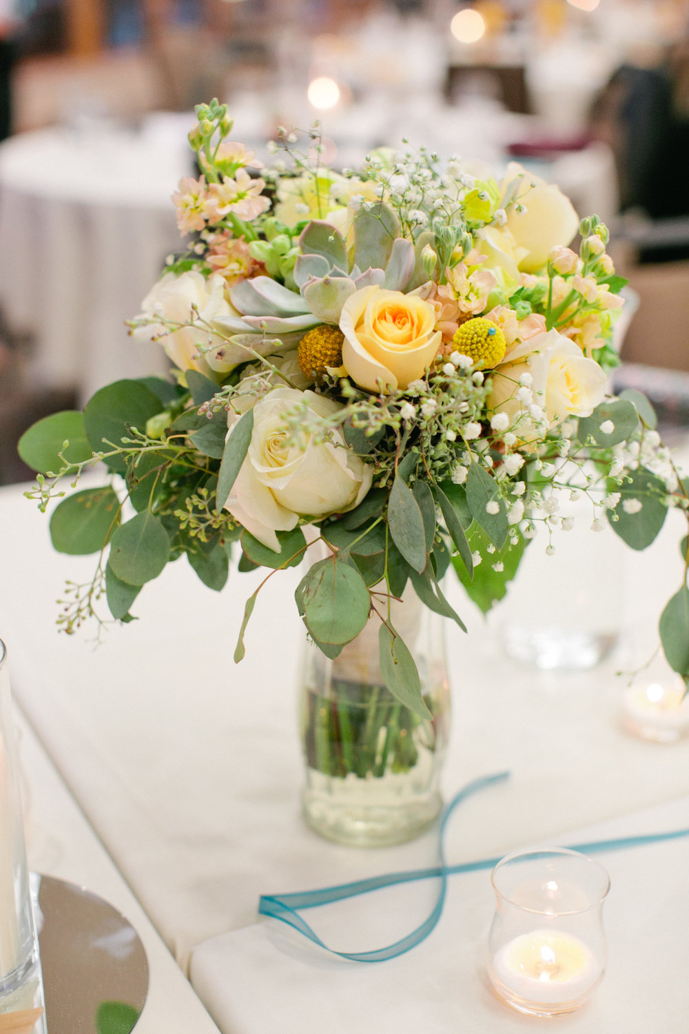 yellow and white roses with babies breath for wedding flowers