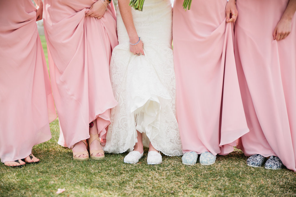 pink and white bridesmaids dresses for spring wedding
