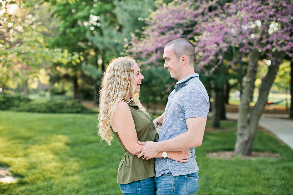 Des Moines engagement session with the spring blooms