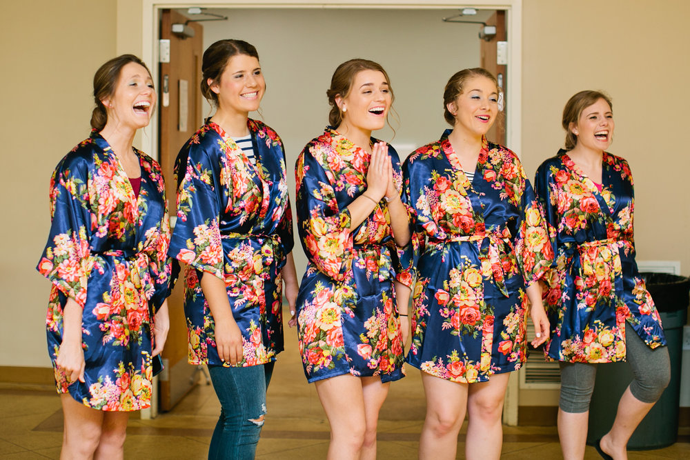 bridemaids in custom robes