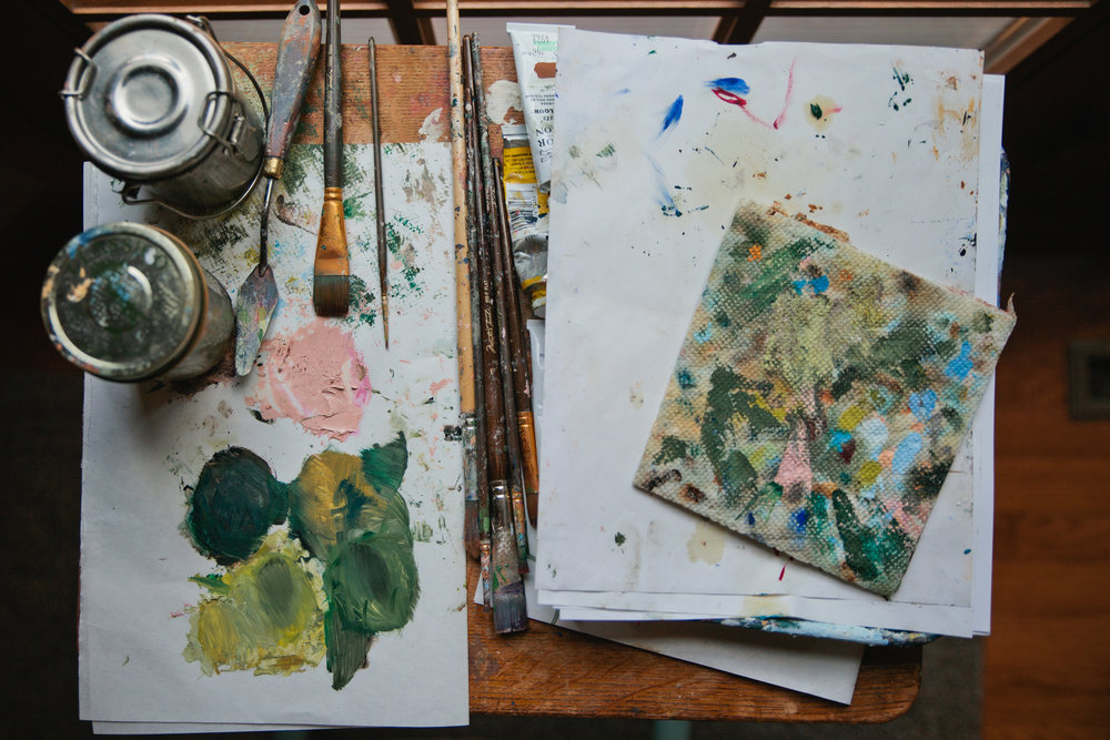 oil paints and brushes