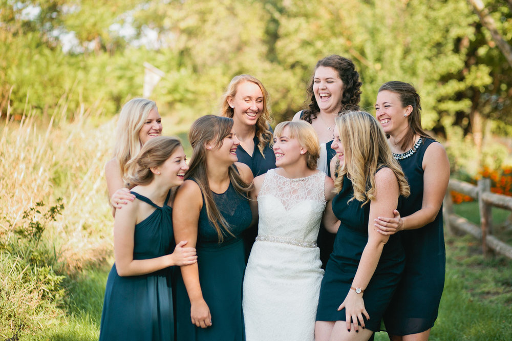 photo of bridesmaids and bride in Reiman Gardens