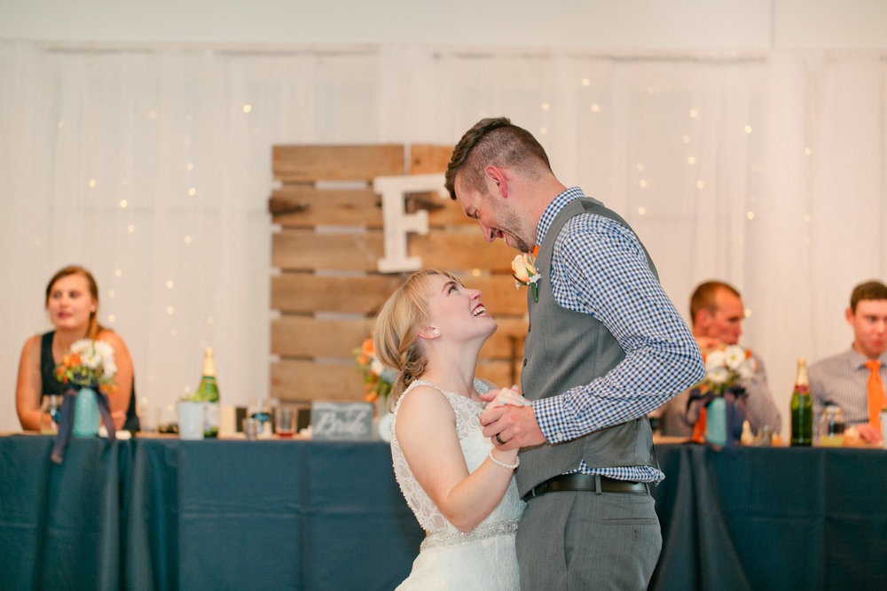 first dance at rustic wedding barn