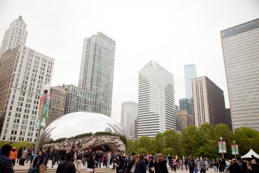 a foggy day downtown at the Bean in Chicago's Millenium Park
