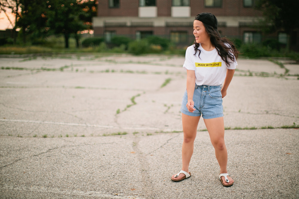 high wasted jean shorts hip hop styled senior photography