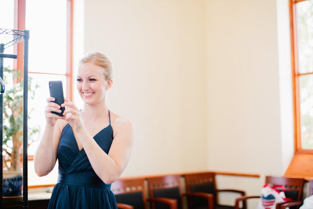 candid photo of bridesmaid