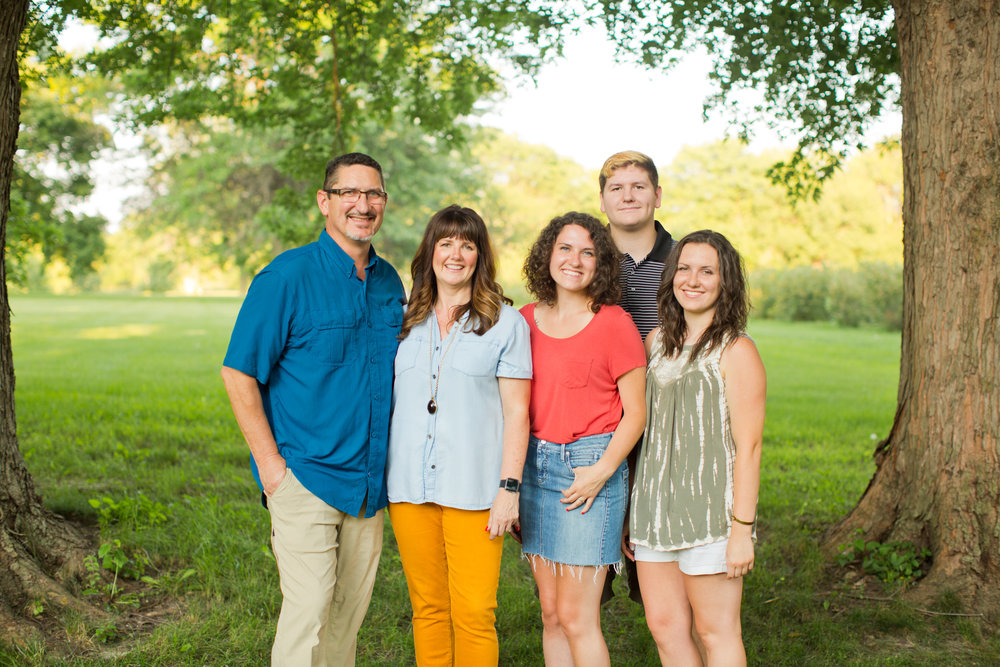family photos outside in summer in backyard ames iowa