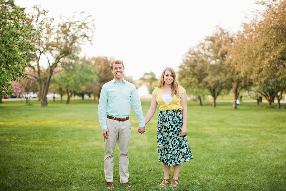 what to wear for spring engagement photos: pastels, khakis and floral skirt