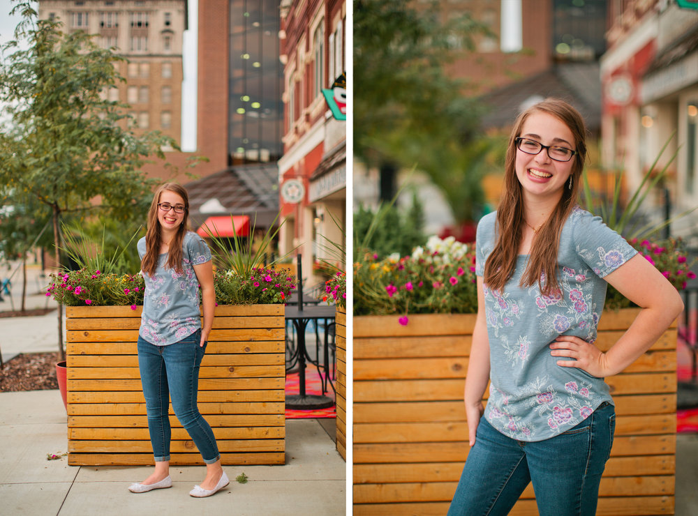 downtown cedar rapids cafe and flowers senior photos