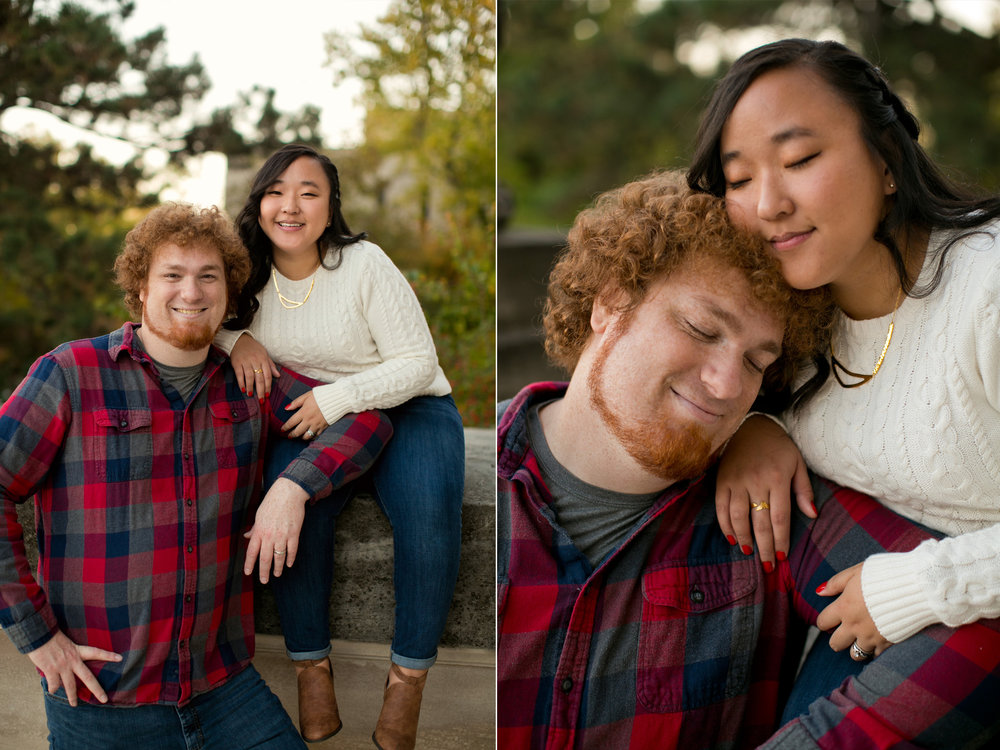 fall engagement photos in jeans, plaid shirt and creme sweater // what to wear during fall phtoos