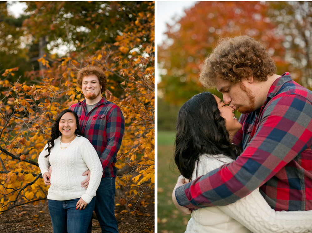 diptych of couple hugging and kissing in fall pictures