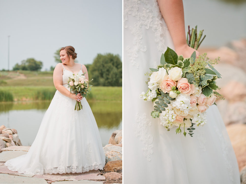 bride in lace white wedding dress holding flowers roses and eucalyptis