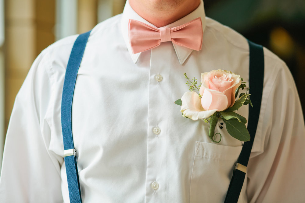casual groomsmen outfit suspenders and bow tie