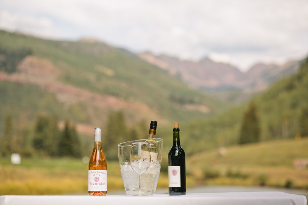 wine and mountains for outdoor wedding ceremony in vail colorado