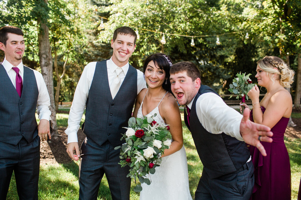bridal party photos funny goofing off