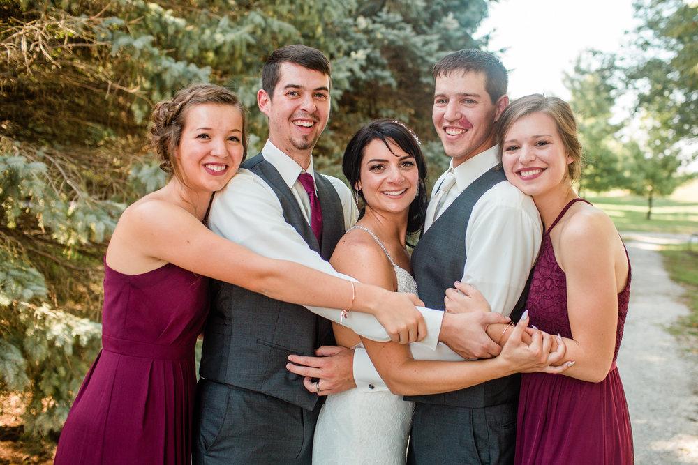 bride groom and siblings