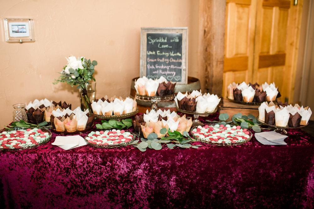 cupcake table scratch cupcakes at wedding