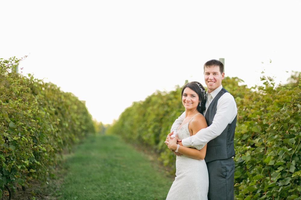 winery wedding locations Iowa vineyards bride and groom at sunset