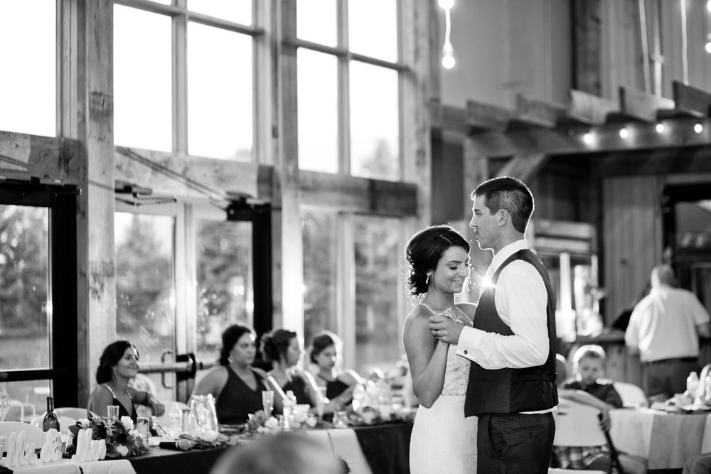 bride & groom wedding at winery first dance photos