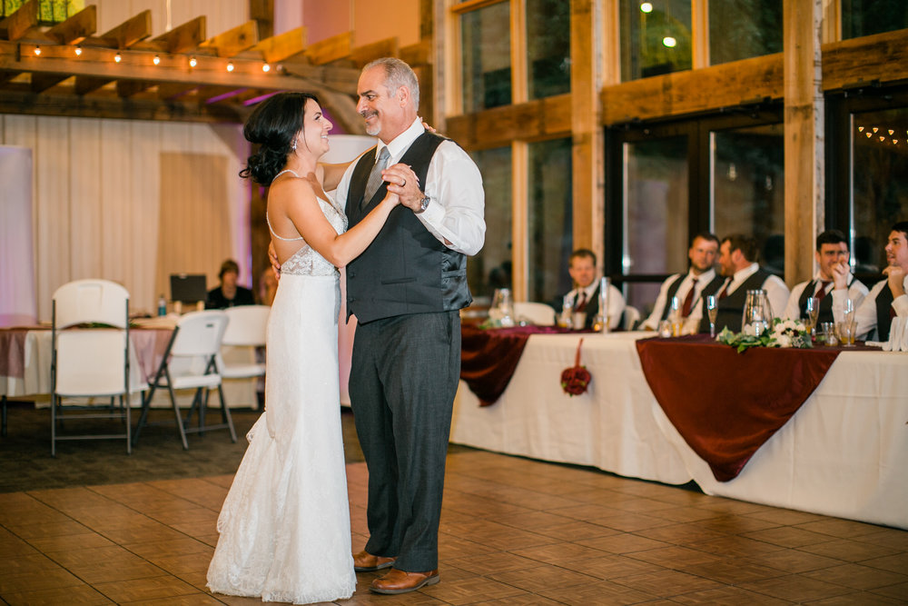 brides first dance with dad winery wedding Des Moines Iowa