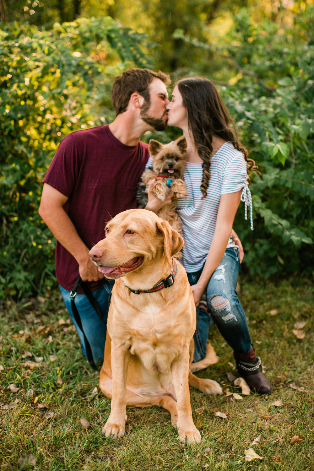 couple and dogs kissing in fall leaves engagement photos Orange City Iowa