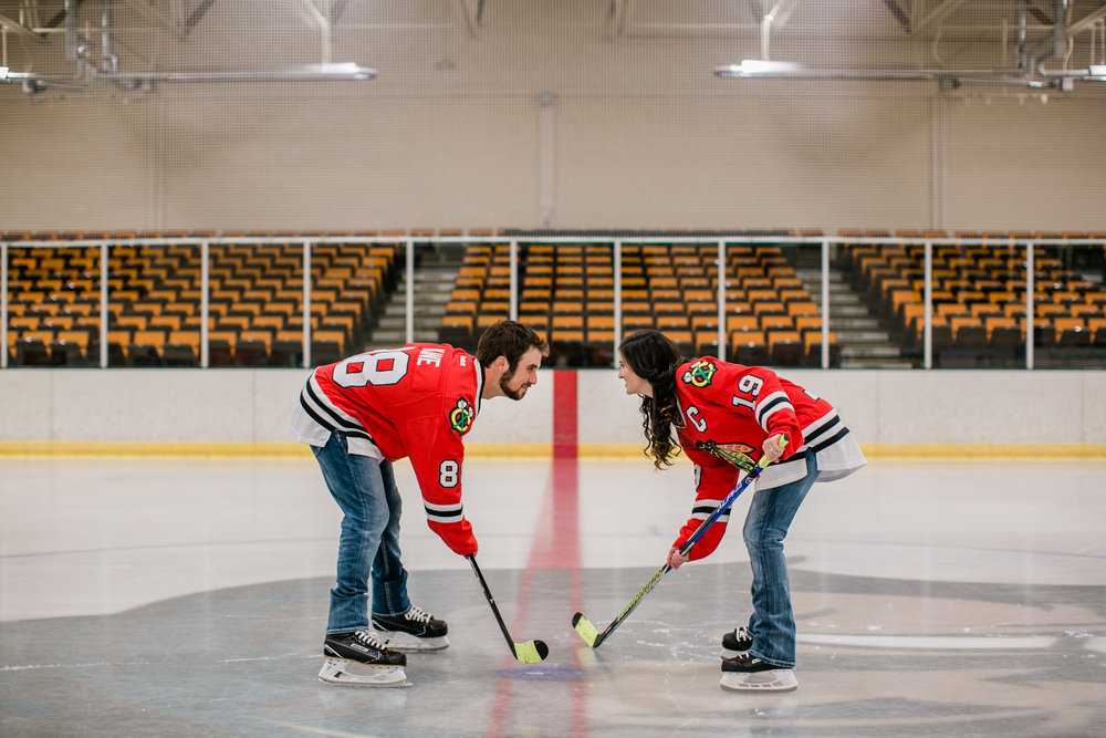 hockey themed engagement photos des moines Iowa Cedar Falls Iowa Sioux City