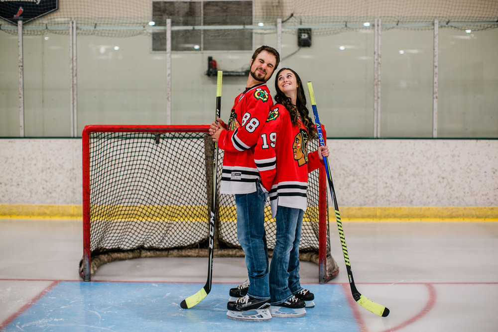 hockey themed engagement pictures Des Moines Iowa Amelai Renee