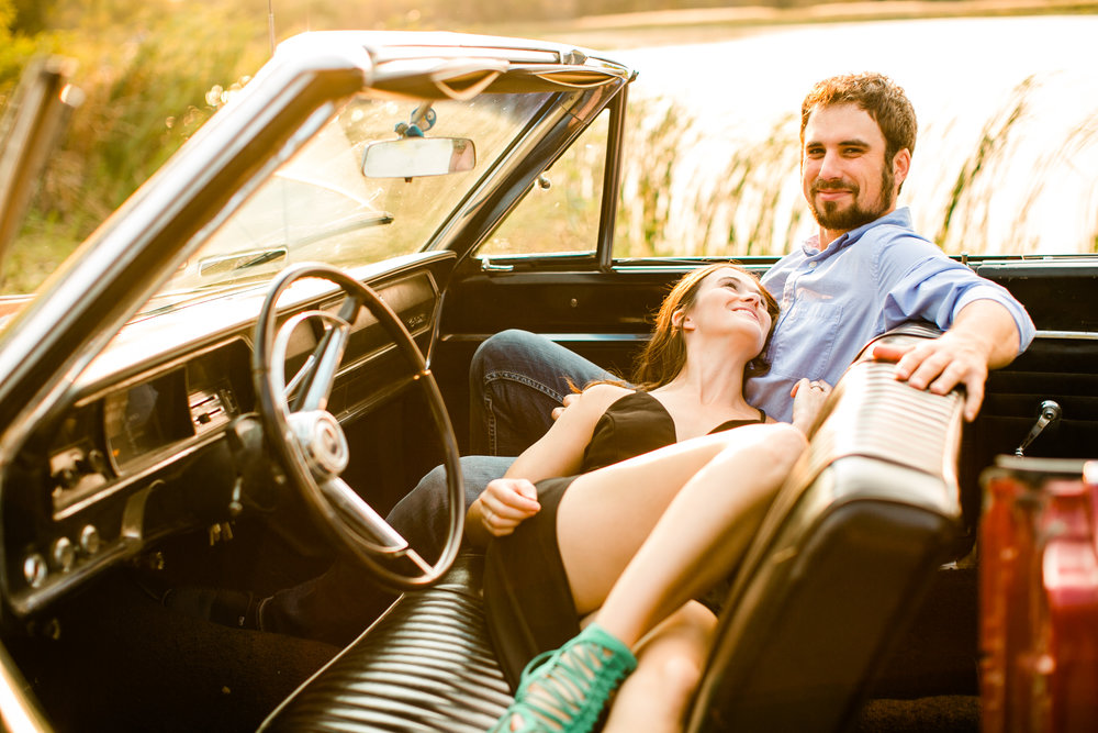 vintage styled engagement photos red restored Corvette car
